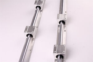 2pcs Shaft Rod Fully Supported Sbr25 1000 Linear Rail Slide Guide 4 Sbr25uu