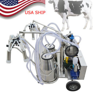 Double Tank Electric Milker Milking Machine Vacuum Pump For Farm Cattle 0 75kw