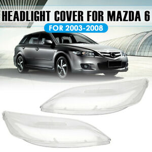 Pair Replacement Headlight Headlamp Clear Lens Cover Shell For Mazda 6 2003 2008