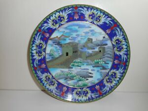 A Fine Chinese Cloisonne Plate Decorated W The Great Wall