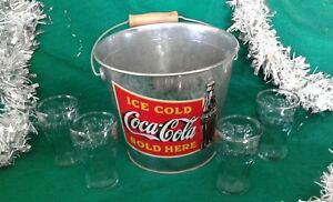 Coca Cola Ice Bucket Red Label Metal Pail  + 4 Green Logo Glasses Gift Set