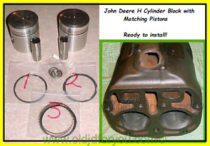 Ah510r H107r John Deere H Cylinder Block With Pistons 125 Ready To Install