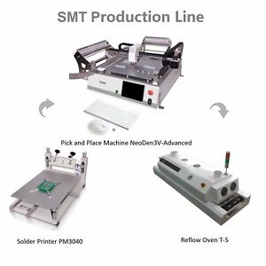 Smt Line pick And Place Machine Vision Neoden3v adv solder Printer reflow Oven