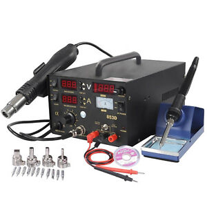 853d Rework Soldering Station Smd Hot Air Iron Gun Dc Power Supply 6 Gifts