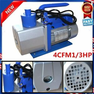 4cfm Rotary Vane Vacuum Pump Dual 2stage Hvac 1 3hp Air Conditioning A c Deep Wn
