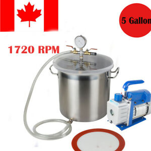 5gallon Stainless Steel Vacuum Degassing Chamber Silicone Kit 3cfm Pump Hose Ce