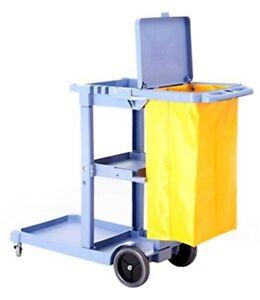 Commercial Housekeeping Janitorial Cart With Vinyl Bag Cover Gray