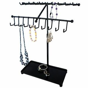 Mygift 15 Inch Black Metal 30 hook Necklace Bracelet Jewelry Organizer Display