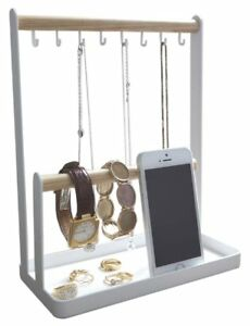 Jewelry Accessories Desk Bar Organizer Stand With Tray In White Finish 11 5 h