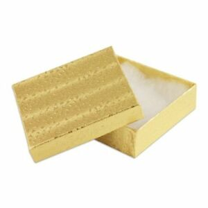 100 Pcs Gold Cotton Filled Jewelry Gift Boxes 3x3