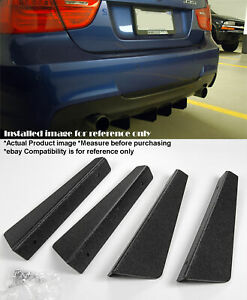 Black 4 Pieces 12 X 2 87 Abs Textured Rear Bumper Diffuser Shark Fin For Bmw