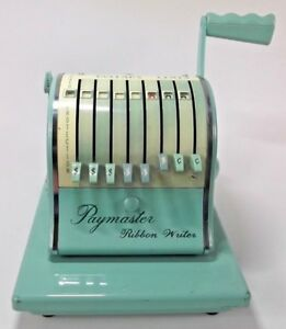 Working Mint Green Paymaster Ribbon Writer Check W Key And Matching Cover