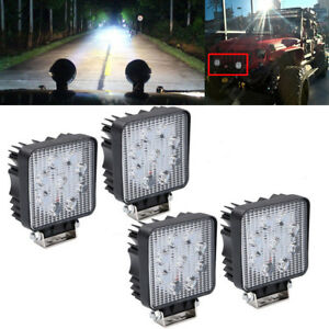 4x4inch 27w Led Lights Flood Square Pods Offroad Truck Ute Pickup Boat