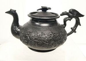 Antique Jackfield Ware Black Teapot With Eagle English American Scottish C 1835