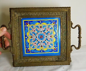 Antique Bronze Longwy Enamel Tile Tray Trivet French As Is Aesthetic