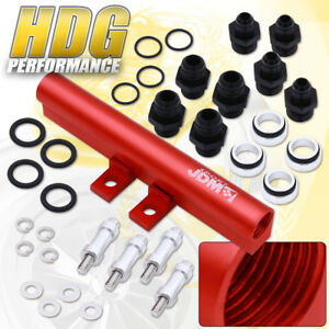 Jdm Sport Aluminum Fuel Rail Kit Red For Subaru Impreza Wrx Sti Ej20 Ej25 02 07