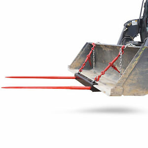 Bucket Dual 49 Hay Bale Spear Attachment Front Loader Tractor Skid Steer Used