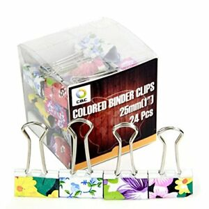 12 Pcs Lovely Printing Style Metal Binder Clips Decorative Paper Clips Long