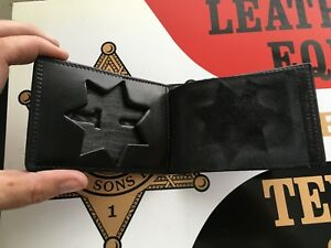 Tex Shoemaker Basketweave Police Id Wallet And Badge Holder 7 Point Star Sheriff