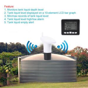 100m Wireless Ultrasonic Water Tank Liquid Level Meter W temperature Sensor Oe