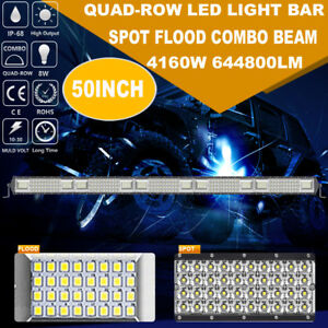Quad Rows 50inch 4160w Cree Led Work Light Bar Spot Flood Offroad Truck Tractor