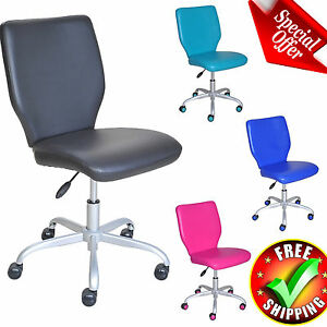Student Chair Task Computer Office Wheeled Padded Seat Back Adjustable Furniture