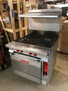 Vulcan Gh45 Commercial Natural Gas 4 Eye Stove With Convection Oven Range