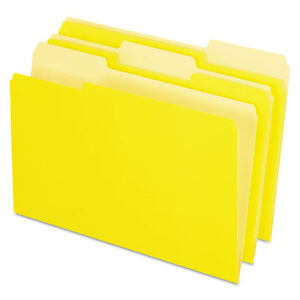 Pendaflex Colored File Folders 1 3 Cut Top Tab Legal Yellow Light Yellow 100 box