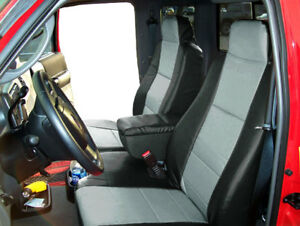 Ford Ranger 2004 09 Black Grey Leather Like 2 Front Seat Console Covers