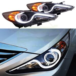 For 2011 2012 2013 2014 Hyundai Sonata Black Led Halo Projector Headlights Pair