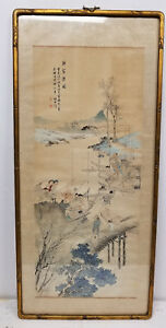 Antique Chinese Mid Century 20th Century Republic Painting Scroll Signed