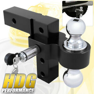 Dual Ball Mount 2 Inch Receiver Black Heavyduty Adjustable Hitch Tow Hook Lock