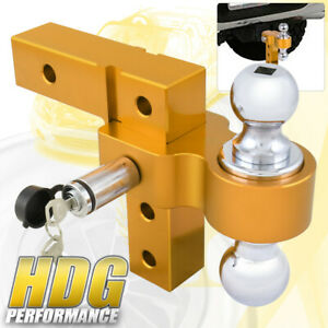 Dual Ball Mount 2 Inch Receiver Gold Heavyduty Adjustable Hitch Tow Hook Lock