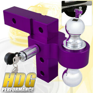 Dual Ball Mount 2 Inch Receiver Purple Heavyduty Adjustable Hitch Tow Hook Lock