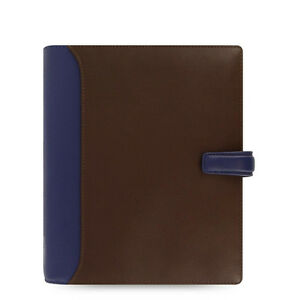 Filofax A5 Size Nappa Organiser Planner Diary Chocolate blue Leather 025138 J2