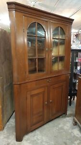 Early Antique Corner China Cabinet Cupboard Dark Pine Beautiful Cabinet