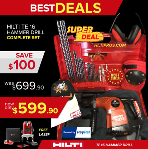 Hilti Te 16 Hammer Drill Excellent Free Laser Extras Quick Ship
