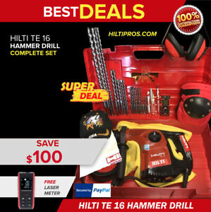 Hilti Te 16 Hammer Drill Excellent Free Laser Meter Bits Quick Ship