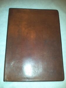 Vtg Schlesinger Brothers Brown Leather Padfolio Notepad Cover Organizer