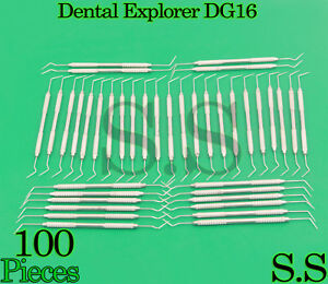 Set Of 100 Dental Diagnostic Probe Endo Explorer Dg 16 Double Ended Instruments