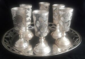Mid Century Taxco Mexico Sterling Silver Rose Motif Cordials Glasses