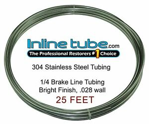 Stainless Steel Brake Line Tubing Kit 1 4 Od 25 Foot Coil Roll An 45
