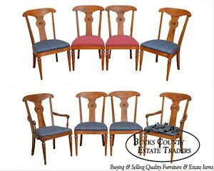 Ethan Allen Country Crossings Set Of 8 Solid Maple Dining Chairs