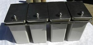 Vtg Hot Dog Burger Taco Toppings Dispenser Condiments Holder 4 porcelain Bins