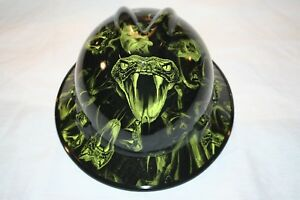 Custom Msa V gard full Brim Hard Hat W fas Trac Ratchet Viper Green