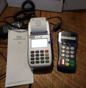 First Data Fd 100ti Credit Card Terminal W Power Adapter Fd 10 Pin Pad