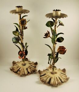 Pair Antique Vtg Italian Metal Tole Leaves Flowers Candle Stick Holders
