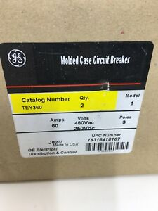 General Electric Tey360 60a 3 Pole Box Of 2 Circuit Breaker J623 New Take Out Ge