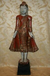 Incredible Antique Thai Style Wooden Buddha W Red Robe 46 Tall Pedestal Base