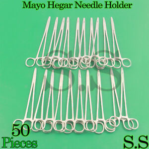 50 Stainless Steel Mayo Hegar Needle Holder 7 Surgical Instruments